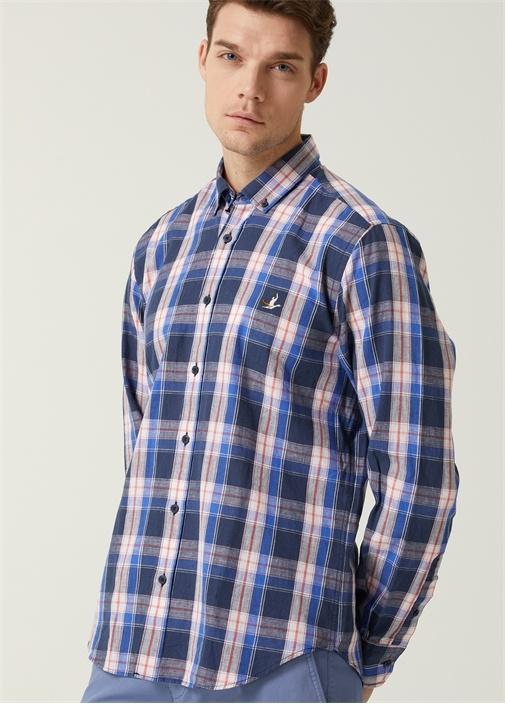 Comfort Fit Lacivert Düğmeli Yaka Ekoseli Gömlek