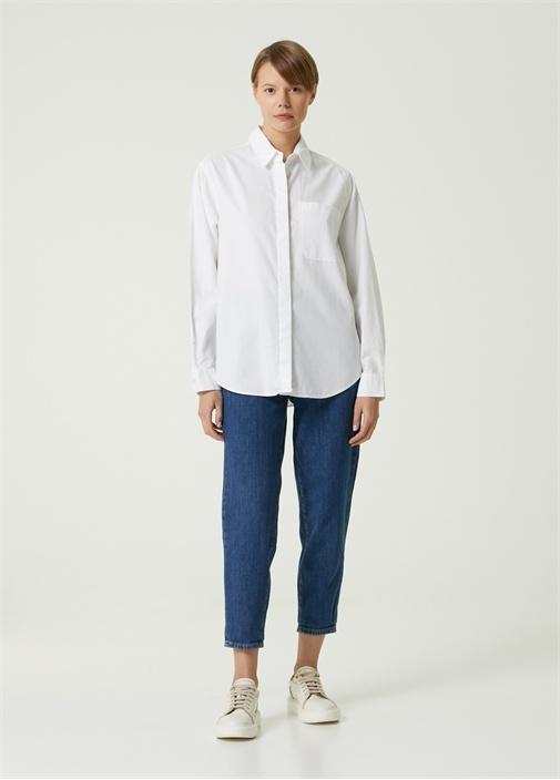 Kırık Beyaz Cepli Boyfriend Oxford Gömlek