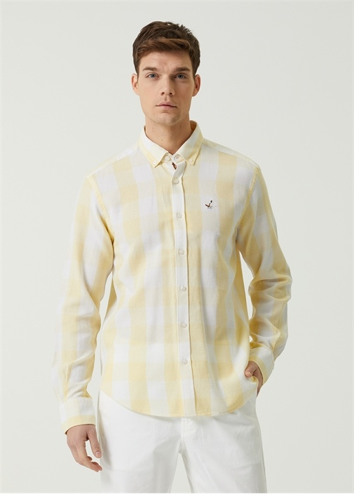 Comfort Fit Sarı Polo Yaka Ekose Desenli Gömlek