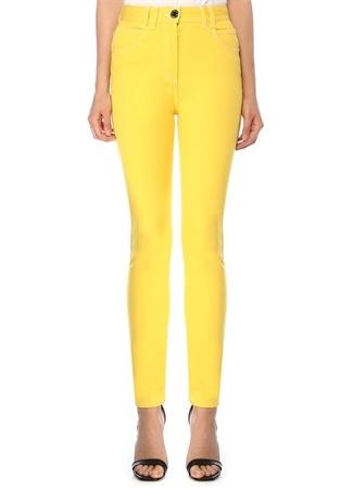 Balmain Kadın Sarı Yüksek Bel Skinny Jean Pantolon 36 IT