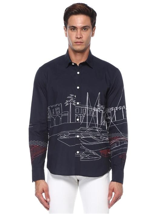 Comfort Fit Lacivert Desenli Gömlek