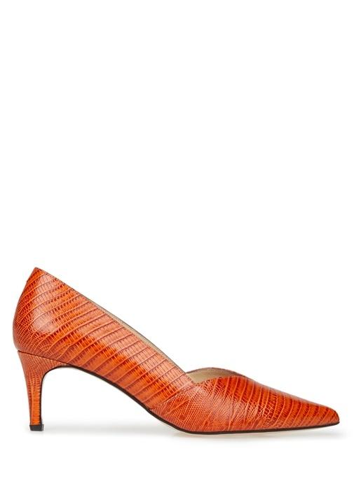 Turuncu Yılan Derisi Desenli Topuklu Ayakkabı