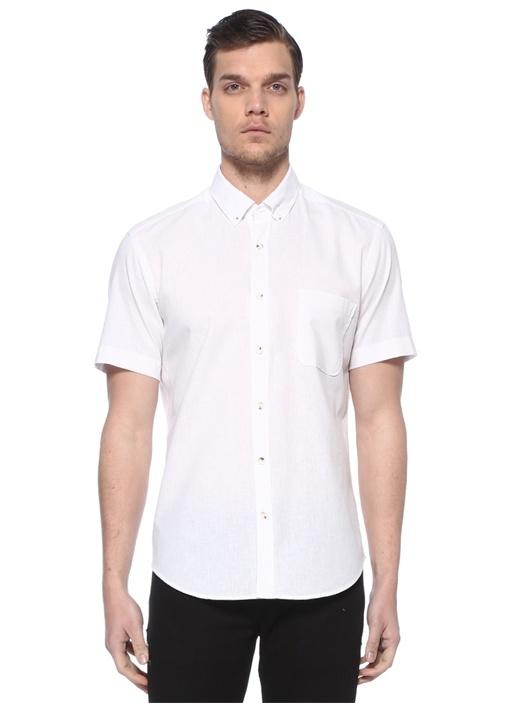 Beyaz Polo Yaka Kısa Kollu Gömlek