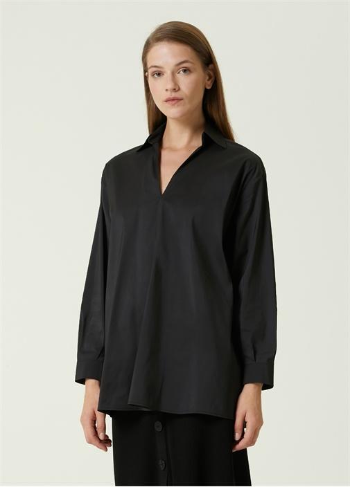 Siyah Gömlek Yaka Tafta Bluz