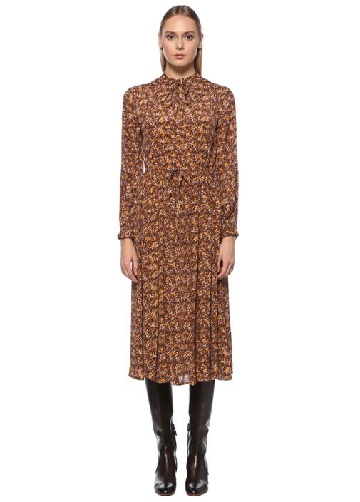 Hardal Çiçekli Beli Bağcıklı Midi Elbise