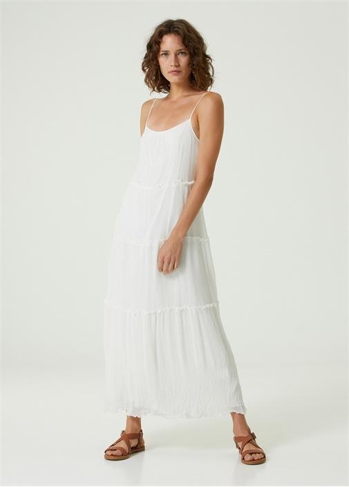 Beyaz Krinkle Midi Elbise