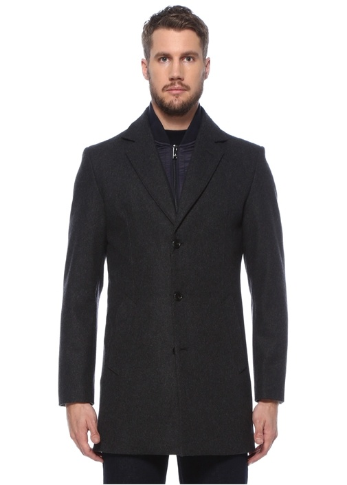 Antrasit Yaka Detaylı Yün Palto