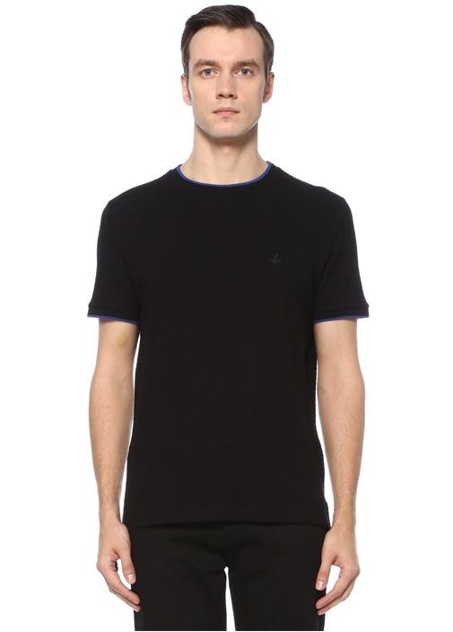 Siyah Logolu Bisiklet Yaka Basic T-shirt