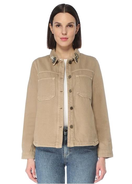 Kamel Yakası Taş Detaylı Ceket