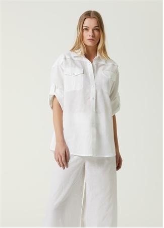 Beymen Collection Kadın Beyaz Kısa Kol Keten Gömlek 34