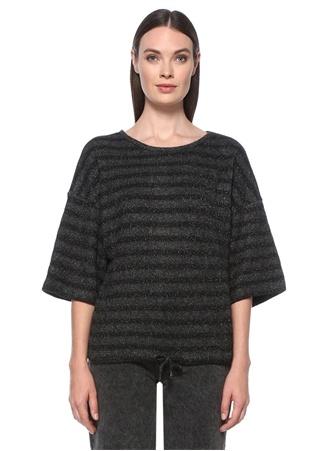 Network Kadın Regular Fit Siyah Çizgili T-shirt S EU