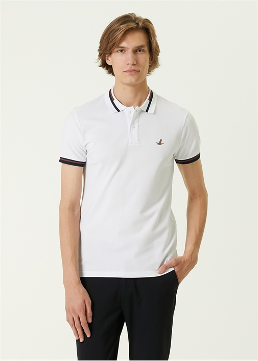 Slim Fit Beyaz Polo Yaka Şeritli T-shirt