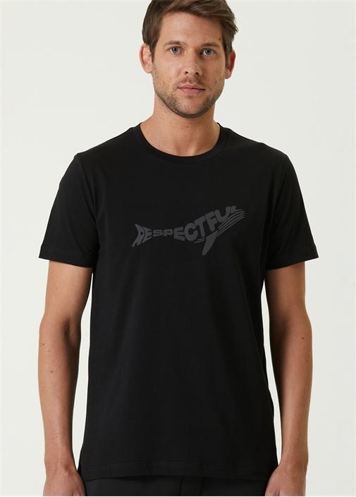 Siyah Balık Formlu Reflektif Baskılı T-shirt
