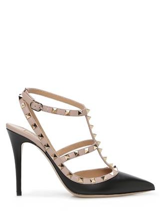Valentino Garavani Kadın Rockstud Caged Siyah Altın Rengi Deri Topuklu Ayakkabı 36 EU