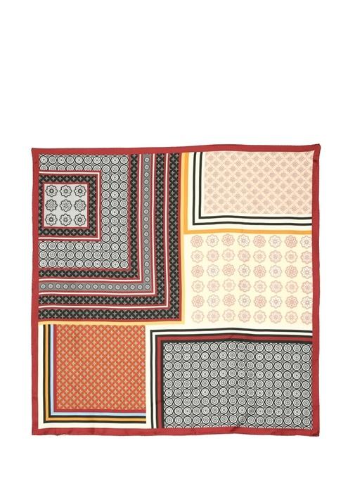 Colorblocked Patchwork Desenli Kadın İpek Şal