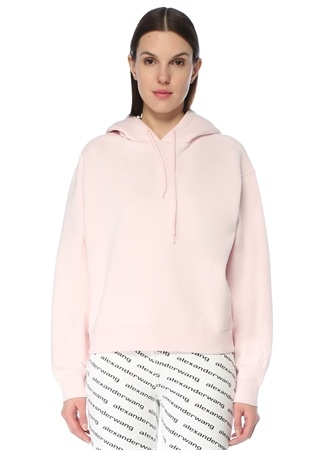 T by Alexander Wang Kadın Foundation Pembe Kapüşonlu Logo Detaylı Sweatshirt S EU