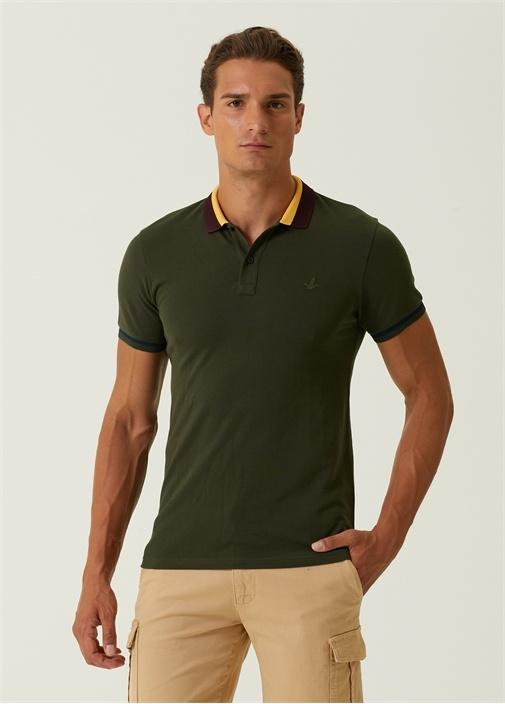 Slim Fit Haki Çizgi Detaylı Polo Yaka T-shirt
