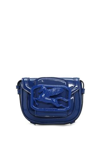 Etro Kadın Lacivert Logo Detaylı Deri Omuz Çantası Mavi EU