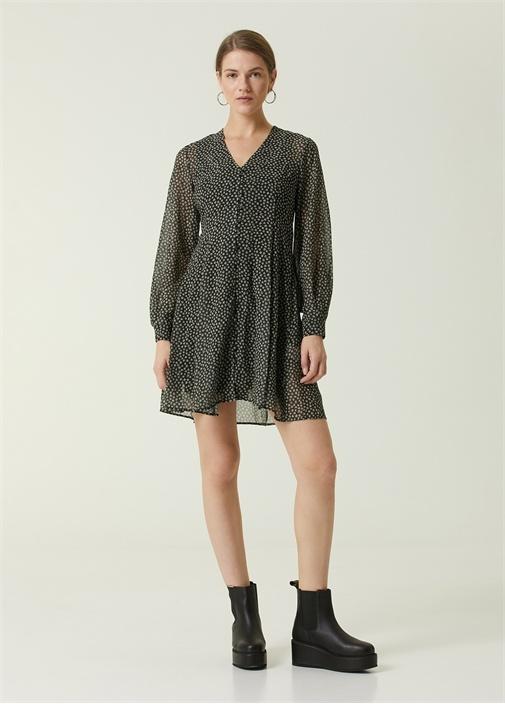 Siyah V Yaka Çiçekli Uzun Kol Mini Elbise