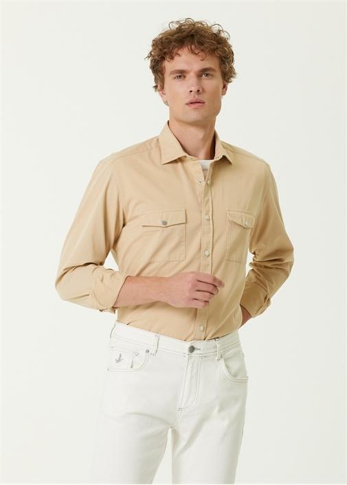 Comfort Fit Bej Gabardin Gömlek