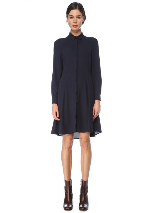 Lacivert Polo Yaka Mini Gömlek Elbise
