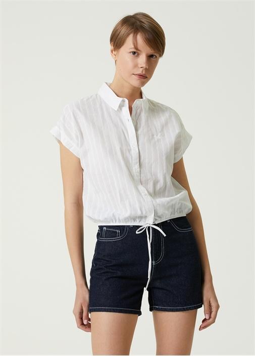 Beyaz Bağlama Detaylı Gömlek