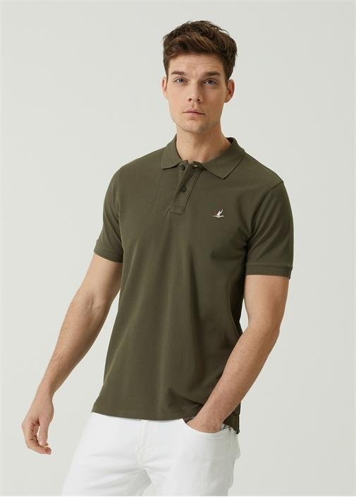 Comfort Fit Haki Polo Yaka Pike Dokulu T-shirt