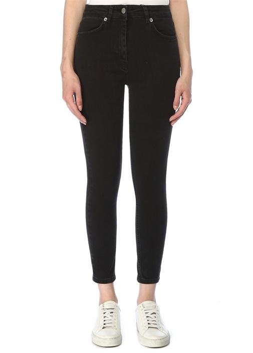 Antrasit Normal Bel Crop Skinny Jean Pantolon