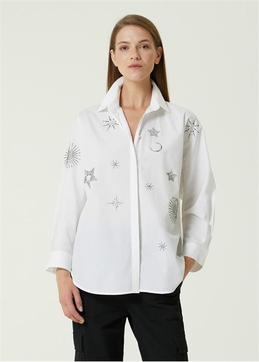 Beyaz Taşlı Yıldız Baskılı Poplin Gömlek