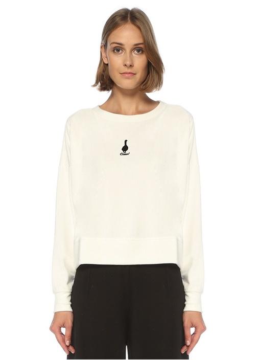 Beyaz Kaz Baskılı Kadife Sweatshirt