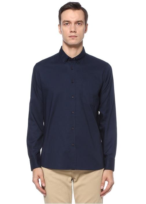 Slim Fit Lacivert Polo Yaka Oxford Gömlek