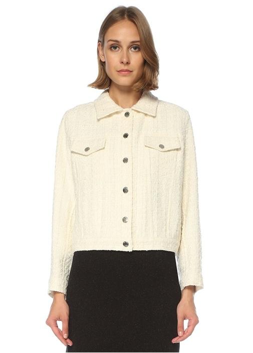 Beyaz Simli Tweed Ceket