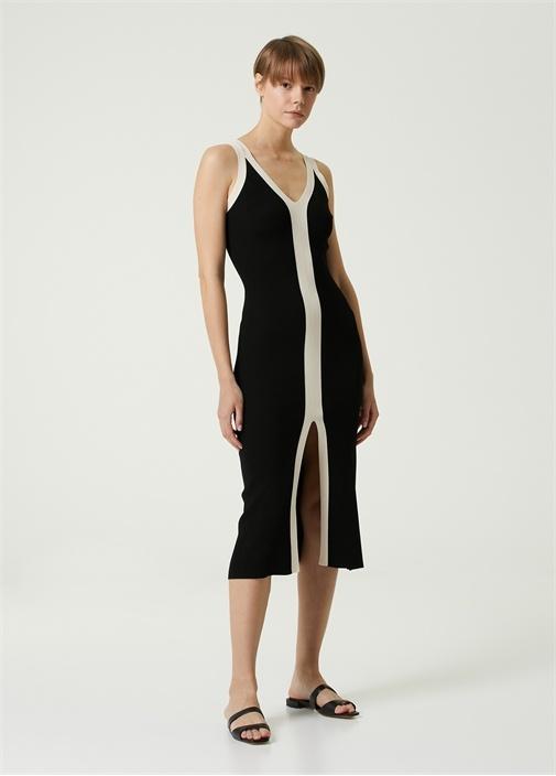 Siyah Bej V Yaka Şeritli Midi Triko Elbise