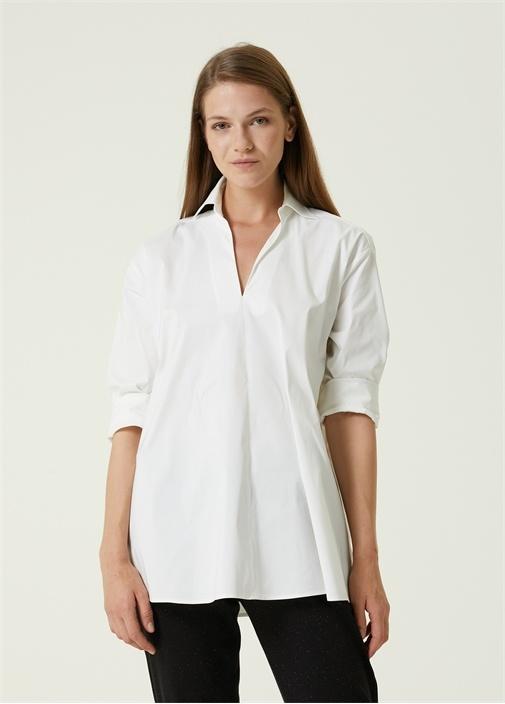 Beyaz Gömlek Yaka Bluz