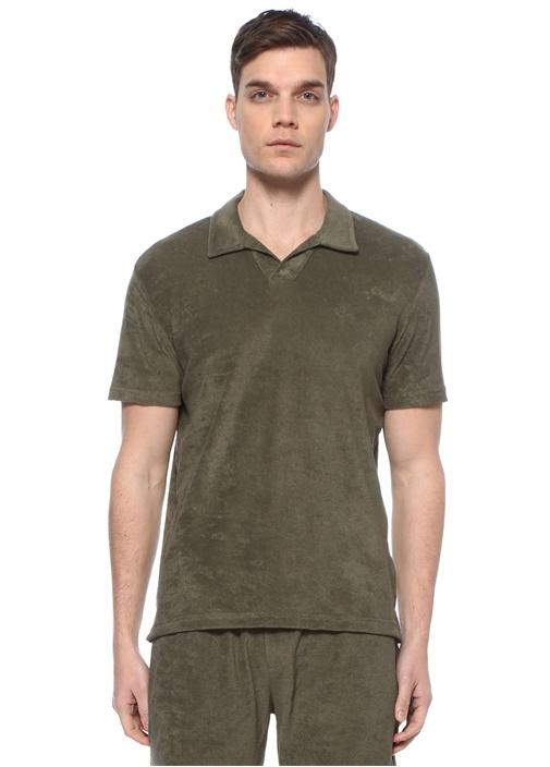Custom Fit Haki Polo Yaka Havlu Dokulu T-shirt