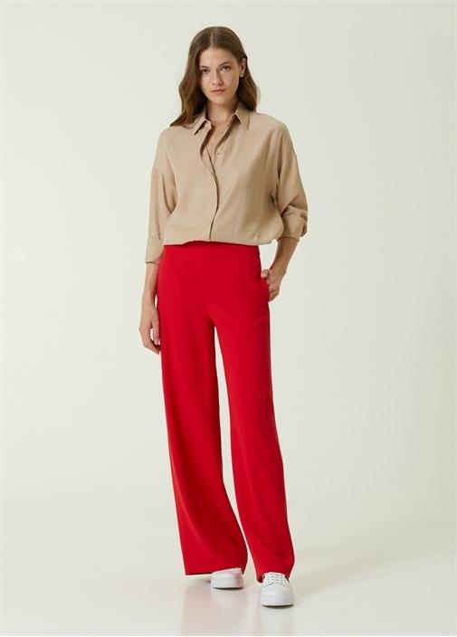 Kırmızı Yüksek Bel Bol Paça Krep Pantolon