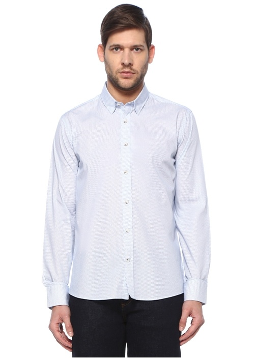 Slim Fit Beyaz Düğmeli Yaka Gömlek