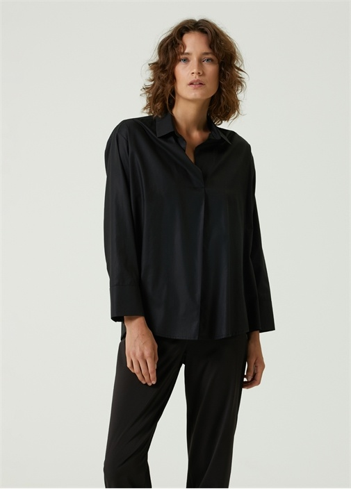 Siyah Polo Yaka Bluz