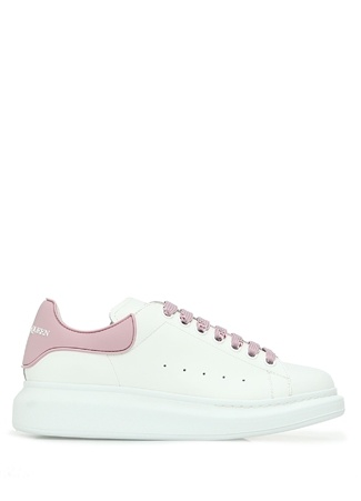 Alexander McQueen Kadın Oversize Beyaz Deri Sneaker Pembe 35 EU