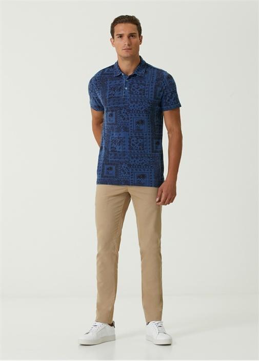 Comfort Fit Mavi Polo Yaka Etnik Desenli T-shirt