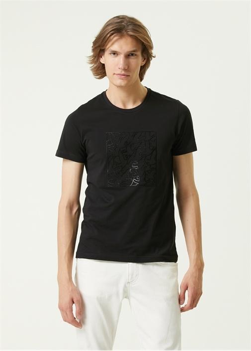 Siyah Kabartmalı Logo Baskılı T-shirt