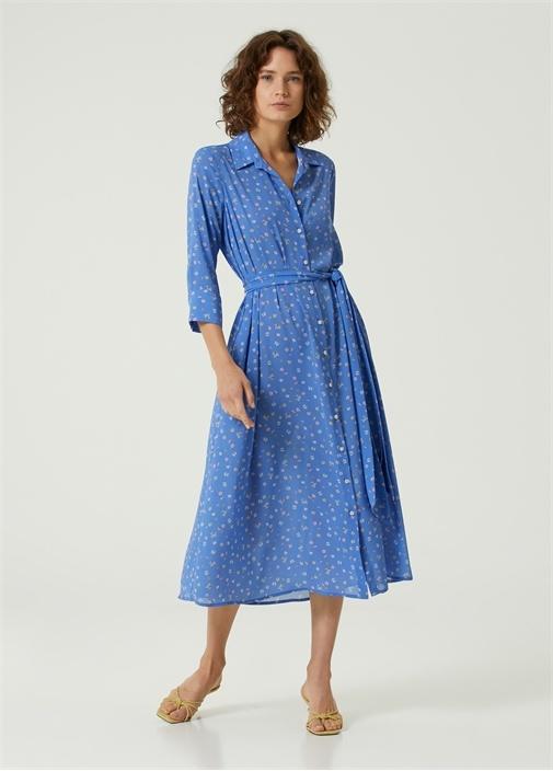Mavi Çiçekli Beli Kuşaklı Midi Gömlek Elbise