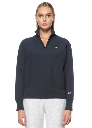 Champion Kadın Lacivert Dik Yaka Fermuarlı Sweatshirt S EU