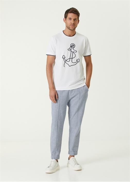 Mavi Beli Kordonlu Jogger Spor Pantolon