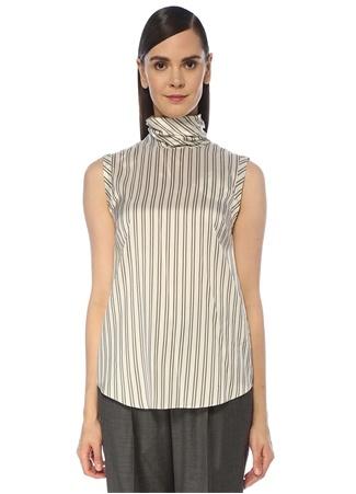 Brunello Cucinelli Kadın Kahverengi Beyaz Çizgili İpek Bluz Bej S EU