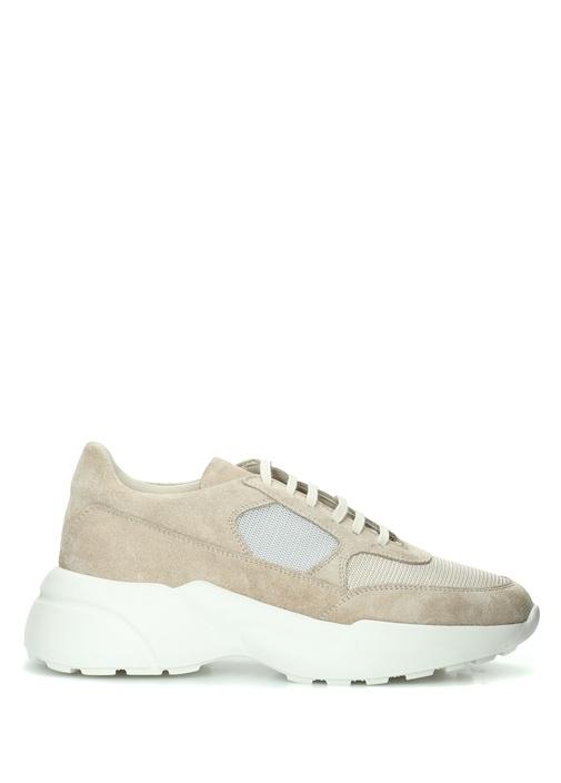 Bej File Detaylı Kadın Deri Sneaker