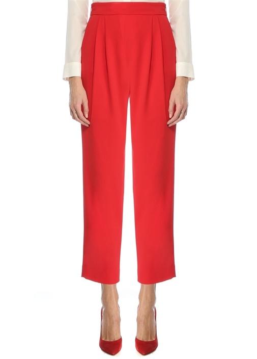 Kırmızı Yüksek Bel Pilili Krep Pantolon