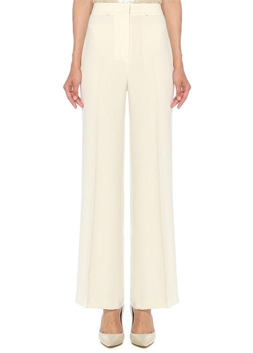 Beyaz Bol Paça Krep Pantolon