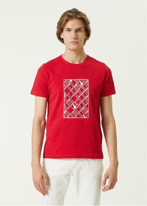Kırmızı Panel Logo Baskılı T-shirt