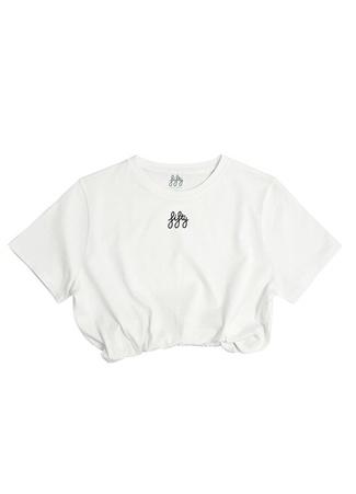 Fifty Pieces Kadın Beyaz Logo Nakışlı Beli Lastikli Crop T-shirt XS EU